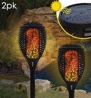 Solar Flickering Flame Stake Light 2pk