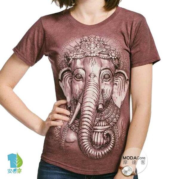 【摩達客】(預購)美國TheMountain都會系列銅紅象頭神臉圓領修身女版短T