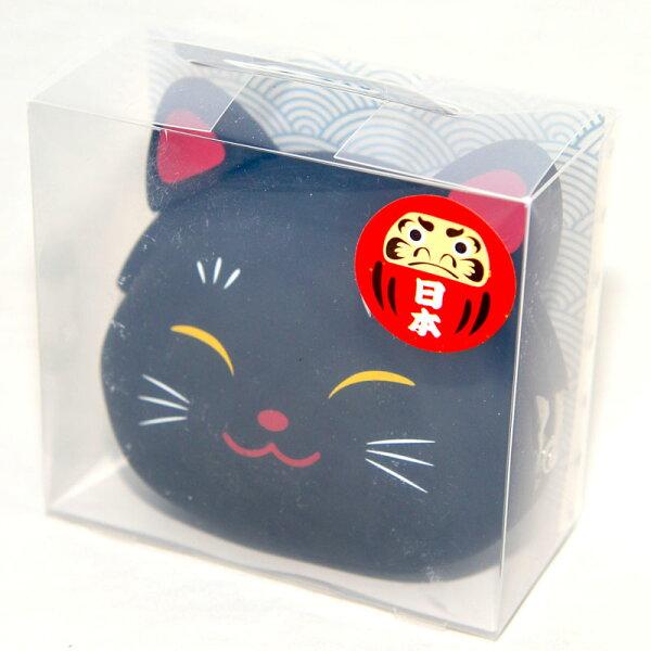 日本黑色招財貓矽膠零錢包日本正版mimiPOCHI