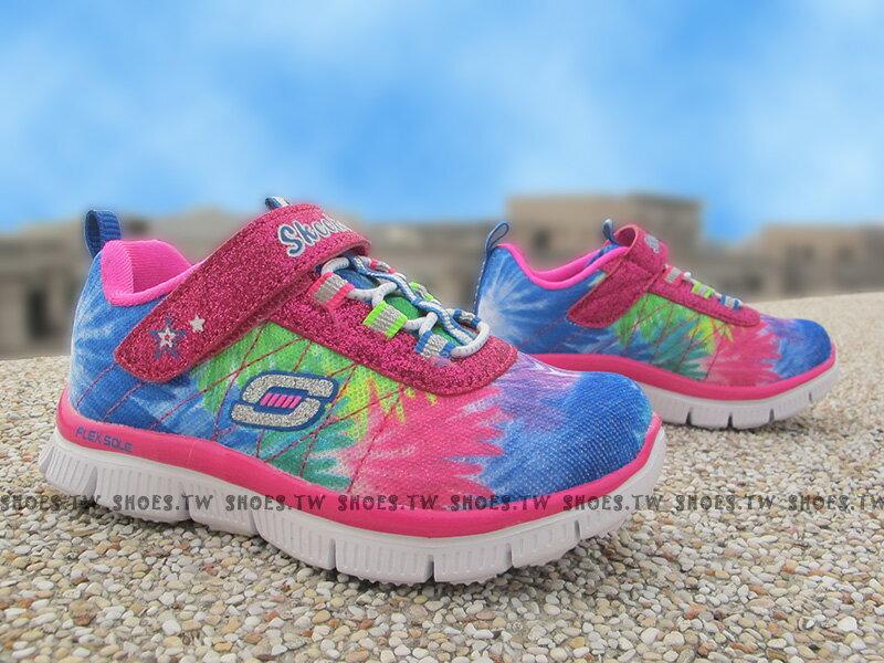 《下殺7折》Shoestw【81852NMLT】SKECHERS 小童鞋 記憶泡棉鞋墊 黏帶 桃紅藍 彩虹