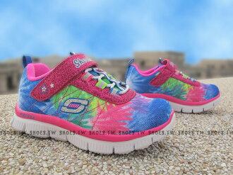 Shoestw【81852NMLT】SKECHERS 小童鞋 記憶泡棉鞋墊 黏帶 桃紅藍 彩虹