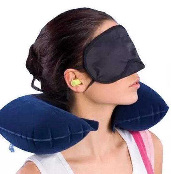 ♚MY COLOR♚氣枕眼罩耳塞三件組 旅行 旅遊 戶外 上班族 頭枕 飛機 睡眠 防噪音 充氣枕【K88-1】
