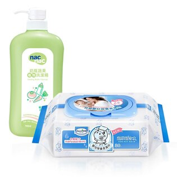 【奇買親子購物網】貝恩BaanNEW嬰兒保養柔濕巾80抽24入箱+NacNac奶瓶清潔劑1罐