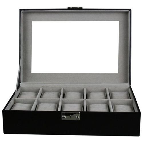 Kendal Watch Case Display Box With Clear Top Holds 10 Watches lock w/ key 0