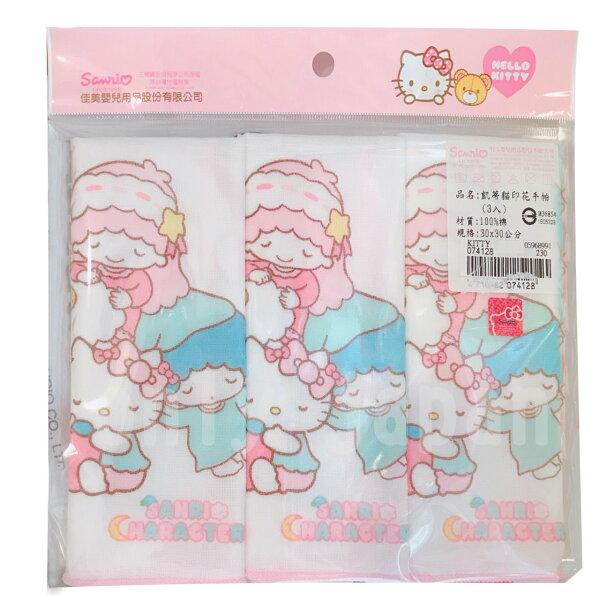 【真愛日本】7122500002印花手帕三入三麗鷗kikilala雙子星凱蒂貓kitty紗布手帕方巾