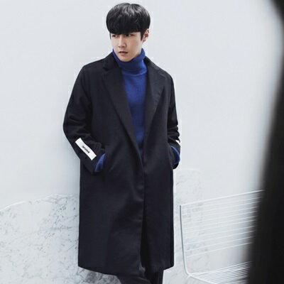 風衣外套長版毛呢大衣-時尚簡約百搭翻領男外套73ip38【獨家進口】【米蘭精品】