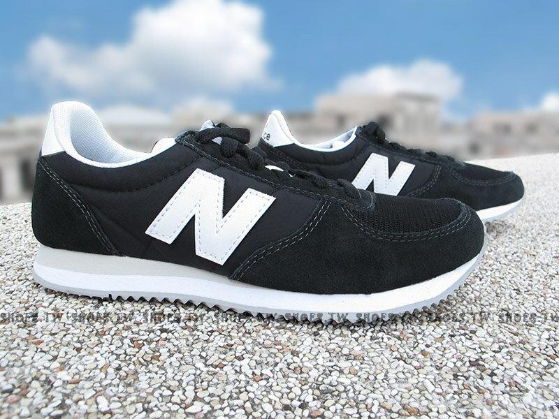 Shoestw【U220BK】NEW BALANCE NB220 復古慢跑鞋 黑色 白N 麂皮 男女尺寸