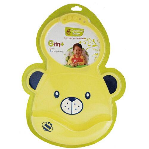 ★衛立兒生活館★Creative Baby 創寶貝 可收納式攜帶防水無毒矽膠學習圍兜-黃色小熊