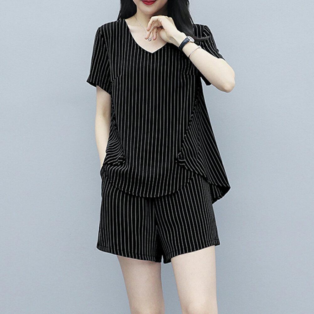 大碼條紋短褲套裝兩件套(3色L~5XL)【OREAD】 2
