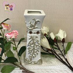 葉子點鑽花瓶-方型-白色~【築巢傢飾】