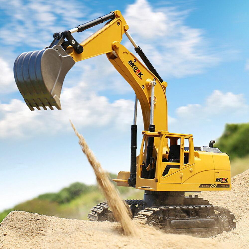 電動挖掘機玩具遙控挖掘機合金遙控挖土機兒童玩具 LX 母親節禮物