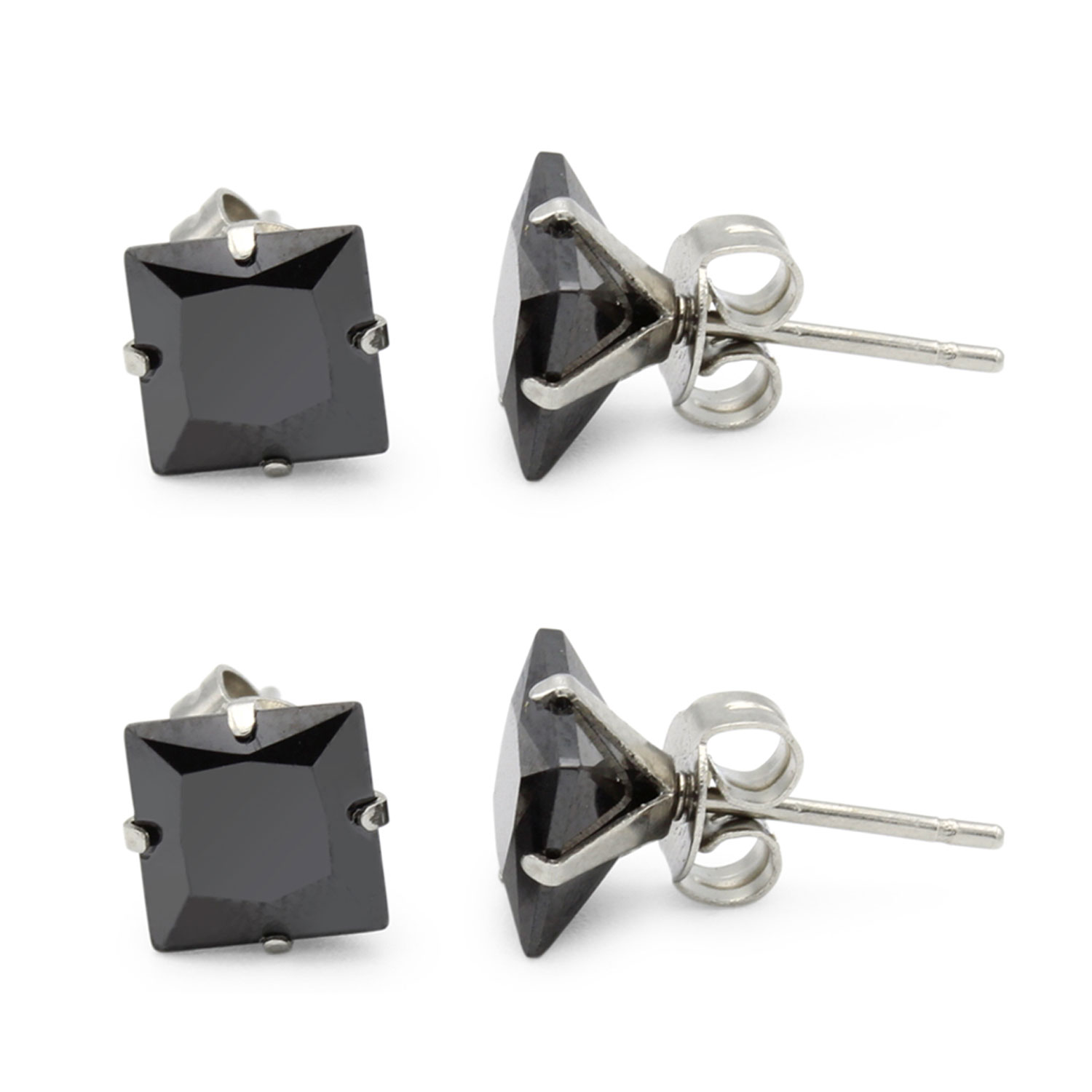 c4ecd2bcc Black Cubic Zirconia Unisex Stud Earrings Stainless Steel Jewelry  Collection Square Studs 3-10 mm