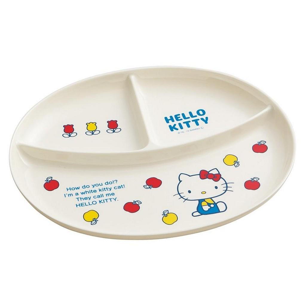 【積文館】三分格塑膠餐盤 日本進口 凱蒂貓 Hello Kitty 托盤 盤子(26*25cm)