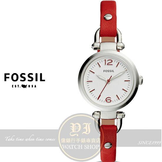 億錶行:FOSSIL美國品牌Georgia優雅淑女皮帶腕錶ES4119公司貨禮物情人節
