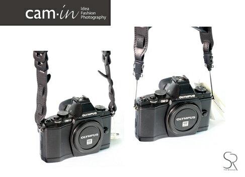 【Cam.in】潮流相機背帶型號:LCS045義大利真皮相機肩帶水洗款通用型顏色:黑色