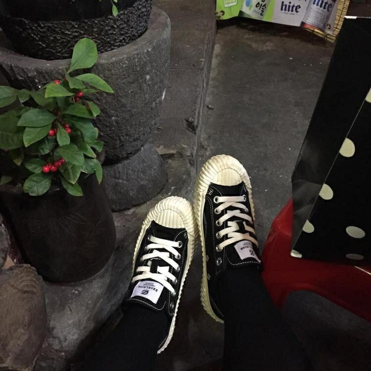 韓國原宿風女鞋港風百搭同款帆布鞋嘻哈休閒運動板鞋潮 【快速出貨】