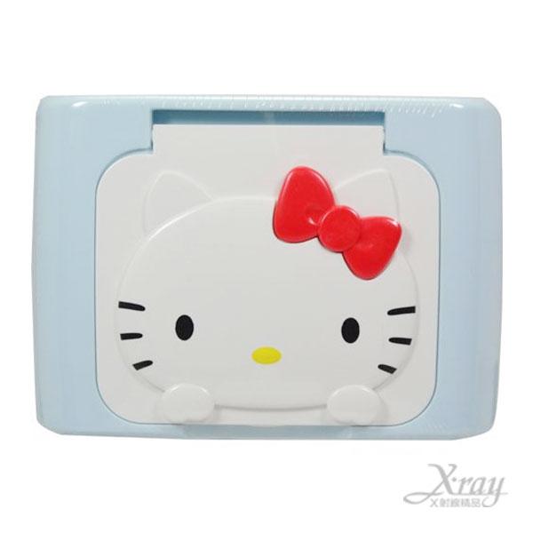 X射線~C043458~Hello Kitty濕紙巾盒^(藍.止汗用^), 凱蒂貓 三麗鷗