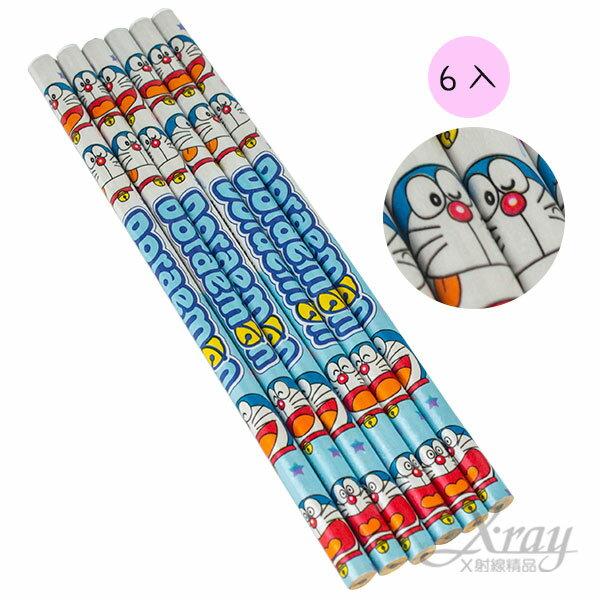 X射線【C890112】哆啦A夢木頭鉛筆6入,開學文具用品/兒童鉛筆/鉛筆盒/卡通圖案