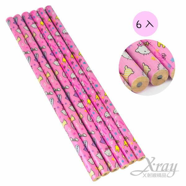 X射線【C899412】Kitty&RODY木頭鉛筆6入,開學用品/隨身筆/鉛筆盒/兒童鉛筆
