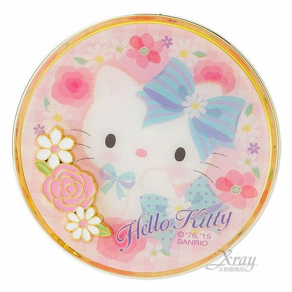 <br/><br/> X射線【C945155】HelloKitty隨身折疊雙面鏡-花,放大鏡/凱蒂貓<br/><br/>