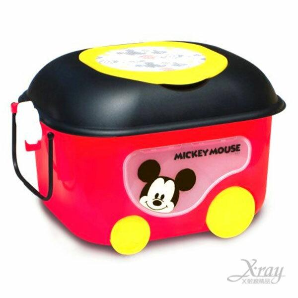 X射線【C311914】迪士尼米奇有輪子置物箱推車(紅),有蓋子塑膠收納箱/兒童玩具箱-(預購)