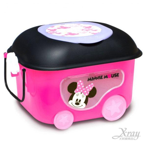 X射線【C311921】迪士尼米妮有輪子置物箱推車(桃),有蓋子塑膠收納箱/兒童玩具箱-(預購)