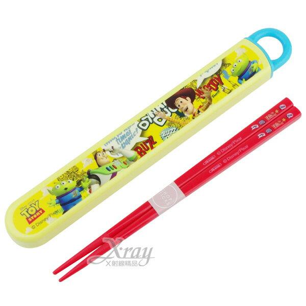 X射線【C249044】玩具總動員抽取式隨身環保筷(黃底)日本製,餐具組/環保/開學/便當盒