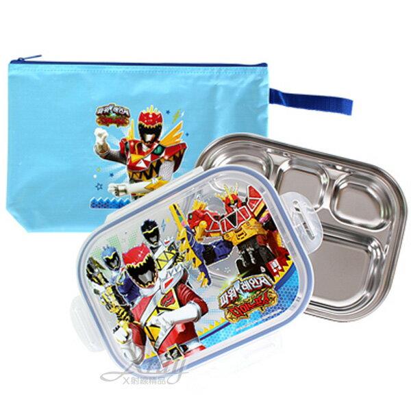 X射線【C206093】海賊戰隊樂扣不鏽鋼餐盤附袋(藍),環保/餐盤/便當盒/不銹鋼/不鏽鋼/開學/卡通