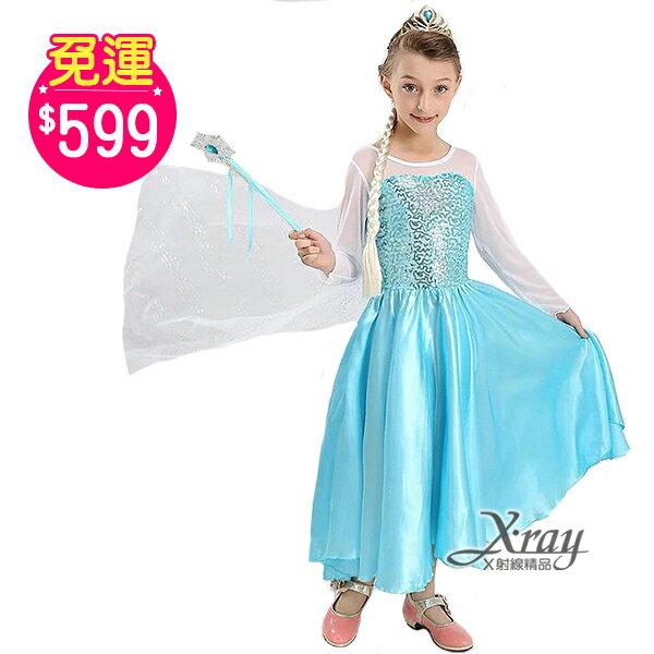 X射線【W380120】艾莎長裙(白衣.白衫),冰雪奇緣化妝舞會萬聖節聖誕節兒童變裝cosplay