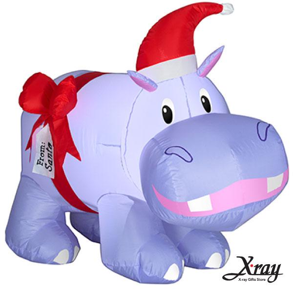 X射線【X007831】89CM聖誕小河馬充氣,聖誕佈置/充氣擺飾好收納/聖誕充氣