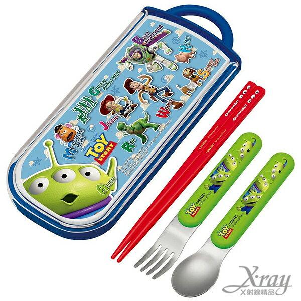 X射線【C324796】玩具總動員三合一餐具組,餐具組/湯匙/叉子/筷子/環保/開學/便當盒/台灣製