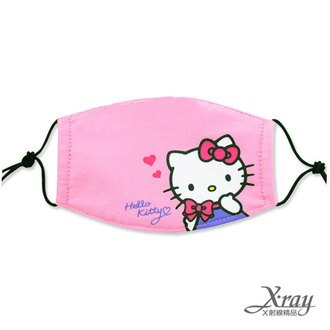 X射線【C101701】HelloKitty成人平面棉布口罩(粉.愛心),機車用口罩/衛生口罩/防塵口罩