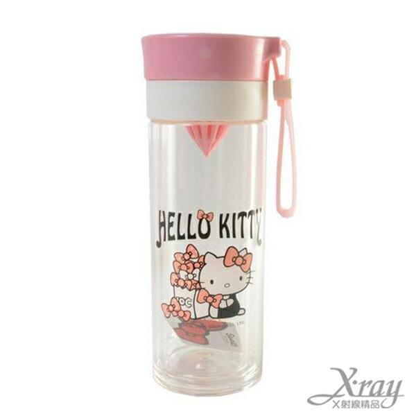X射線【C221696】Hello Kitty雙層耐熱玻璃檸檬瓶-粉,水瓶/隨身瓶/飲水壺/外出水壺/防漏