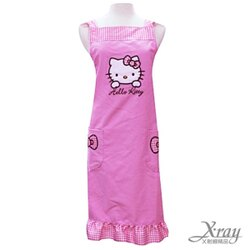 X射線【C520304】Hello Kitty荷葉邊造型口袋圍裙(粉紅 蝴蝶結),工作裙/家事/廚房/勞作的好幫手