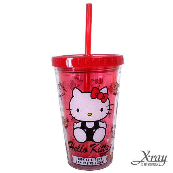 X射線【C295847】HelloKitty塑膠吸管杯(300ML),冷水壺/水杯/飲料瓶/塑膠杯