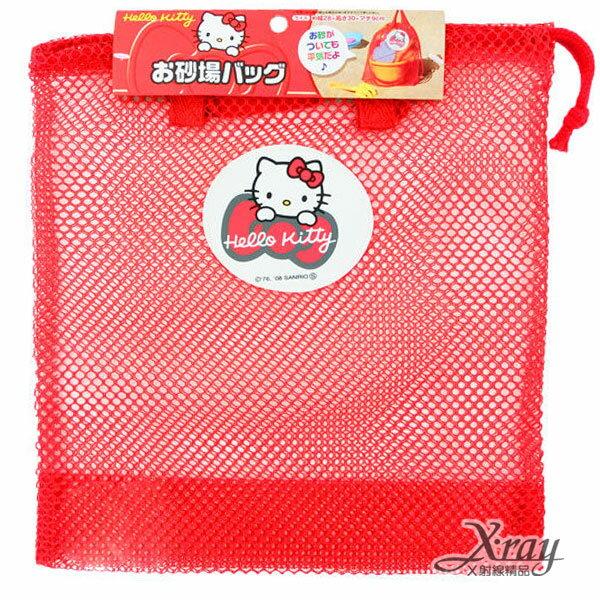 X射線【C101377】HelloKitty玩具拉繩網袋(紅),收納袋/文具袋/盥洗旅行用小物包