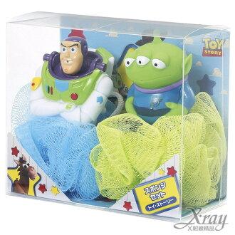X射線【C012225】玩具總動員造型噴水沐浴球+肥皂組(巴斯光年和三眼怪各1),泡澡/洗澡球/卡通/可愛日式/玩具
