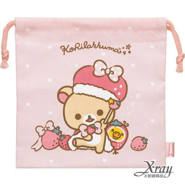 X射線【C656337】牛奶熊草莓甜心束口袋-粉,縮口袋/防塵袋/置物袋/旅行必備/收納袋/整理袋