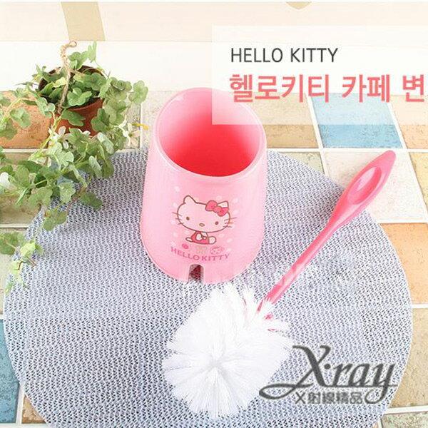 X射線【C064275】HelloKitty粉色點點馬桶刷,韓國製,迷你垃圾桶/桌上型垃圾桶/衛浴用品/浴室