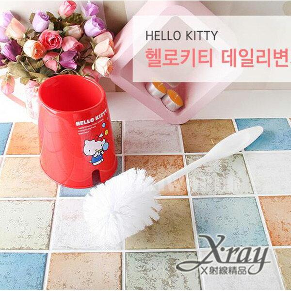 X射線【C070573】HelloKitty馬桶刷(紅),韓國製,迷你垃圾桶/桌上型垃圾桶/衛浴用品/浴室