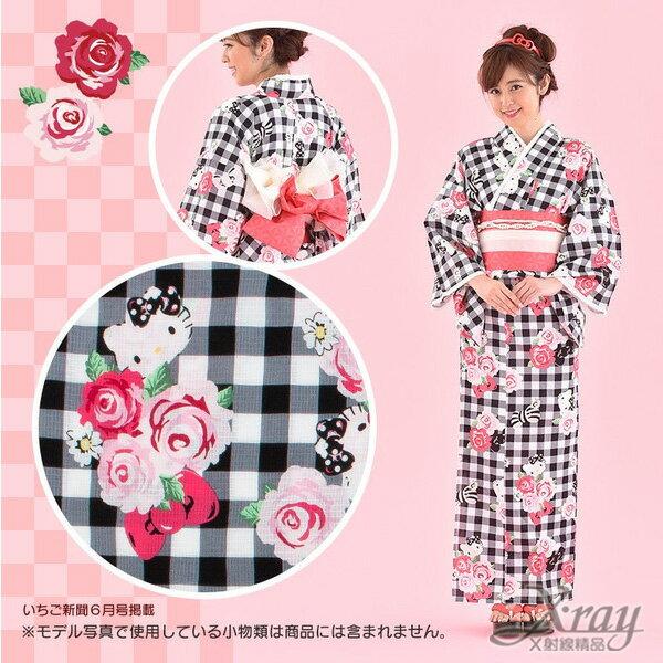 X射線【C265550】Hello Kitty 玫瑰格紋浴衣,夏天/祭典/和服/煙火大會/cosplay