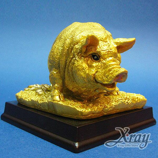 X射線【Z340112】彩珍珠金12生肖-(豬)+木座,春節/過年佈置/擺飾