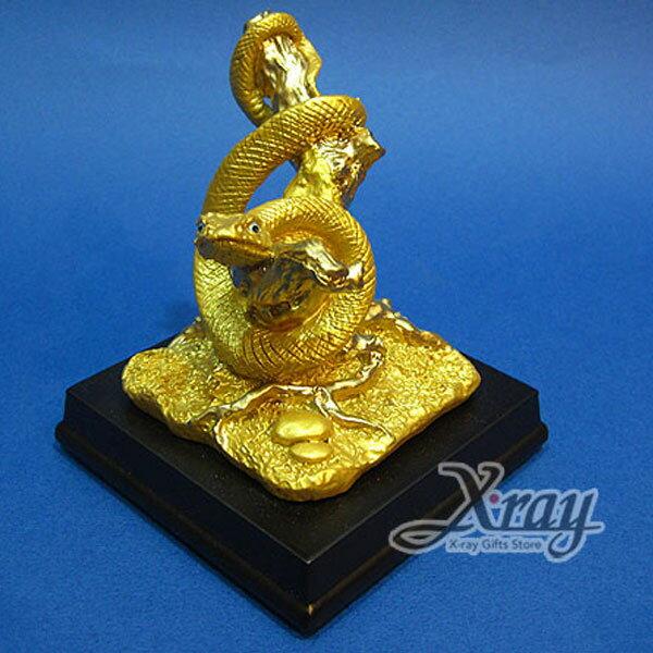 X射線【Z340106】彩珍珠金12生肖-(蛇)+木座,春節/過年佈置/擺飾