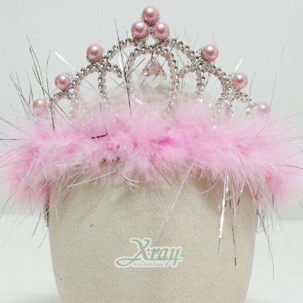 X射線【W413513】珍珠羽毛吊墬皇冠(粉色),化妝舞會/表演造型/尾牙表演/聖誕節/派對道具/cosplay