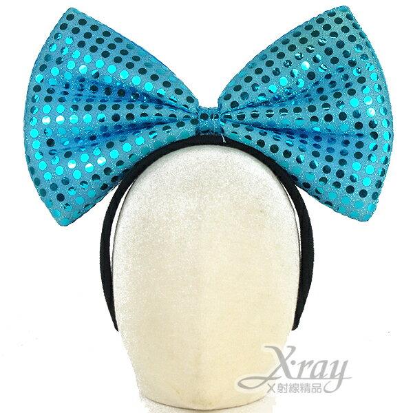 X射線【W200024】亮片蝴蝶結髮圈(藍),萬聖節服裝/派對用品/舞會道具/cosplay服裝/角色扮演