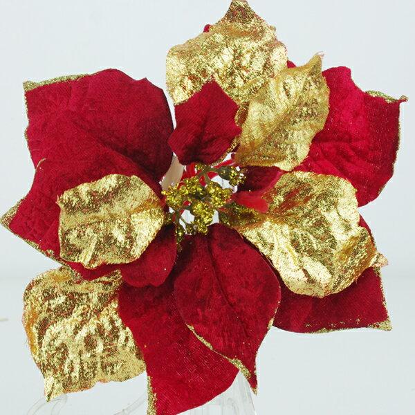 X射線【X191091】聖誕花夾(紅), 聖誕衣/聖誕帽/聖誕襪/聖誕禮物袋/聖誕老人衣服