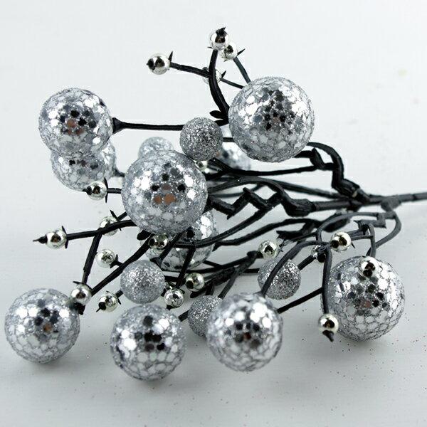 X射線【X713001】球型花蕾(銀), 聖誕衣/聖誕帽/聖誕襪/聖誕禮物袋/聖誕老人衣服