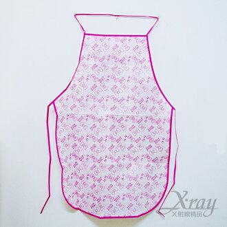 X射線【C102819】KITTY輕便圍裙(白色.粉紅蝴蝶結),輕便拋棄式設計