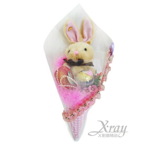 X射線【Y999964】永遠相愛兔兔金莎花束(花束.熊),情人節金莎花束/情人節禮物/婚禮小物