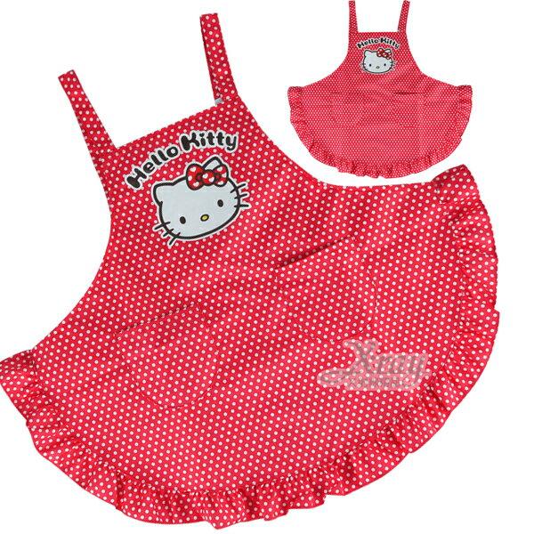 X射線~C521967~kitty可愛圍裙 紅色.大人 ,工作裙  家事 廚房 勞作的好幫